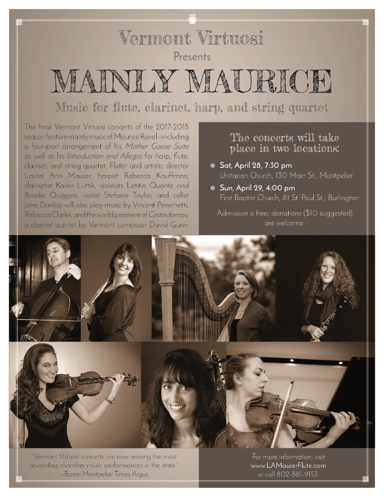 Poster for Mainly Maurice concert by Vermont Virtuosi